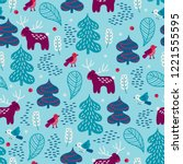 christmas seamless pattern with ... | Shutterstock .eps vector #1221555595