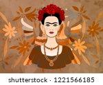frida kahlo vector portrait  ... | Shutterstock .eps vector #1221566185