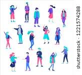 vector people happy friends... | Shutterstock .eps vector #1221574288