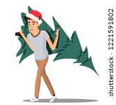 happy man carrying a christmas... | Shutterstock .eps vector #1221591802