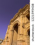 triumphal arch of hadrian in... | Shutterstock . vector #1221595438