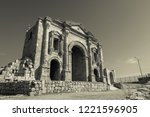 black and white triumphal arch... | Shutterstock . vector #1221596905