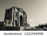 black and white triumphal arch... | Shutterstock . vector #1221596908