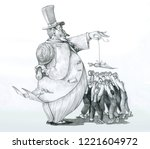 rich master  attracts workers... | Shutterstock . vector #1221604972