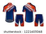 cycling jerseys mockup t shirt... | Shutterstock .eps vector #1221605068