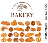 baking set. decor for a shop or ... | Shutterstock .eps vector #1221616222