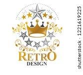 majestic crown emblem. heraldic ... | Shutterstock .eps vector #1221619225