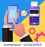 consumer hand holding... | Shutterstock .eps vector #1221619315