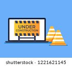 laptop pc with open web page... | Shutterstock .eps vector #1221621145