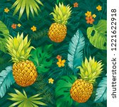pineapple seamless pattern.... | Shutterstock .eps vector #1221622918