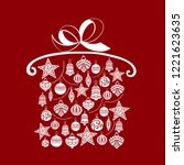 christmas gift  sketch drawing...   Shutterstock .eps vector #1221623635
