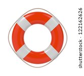 red lifebuoy with white strips... | Shutterstock . vector #122162626