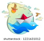 origami paper ship toy swimming ... | Shutterstock .eps vector #1221631012