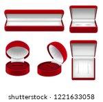 set of realistic open red... | Shutterstock .eps vector #1221633058