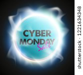 cyber monday sale circle banner.... | Shutterstock .eps vector #1221634348
