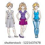 attractive young women posing...   Shutterstock .eps vector #1221637678