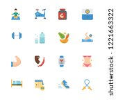 healthy lifestyle outline flat... | Shutterstock .eps vector #1221663322