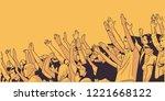 illustration of stadium crowd... | Shutterstock .eps vector #1221668122