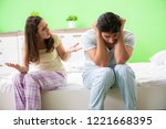 woman and man in the bedroom... | Shutterstock . vector #1221668395