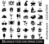 set of 36 food and drink icons. ... | Shutterstock .eps vector #122167045