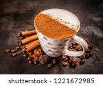 cinnamon spiced coffee latte on ... | Shutterstock . vector #1221672985