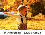 little cute boy walking in... | Shutterstock . vector #1221673525