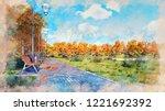 watercolor sketch of pavement... | Shutterstock . vector #1221692392