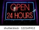 open 24 hours neon sign in a... | Shutterstock . vector #122169412