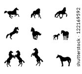 Horse Silhouettes Isolated On...