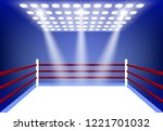 boxing ring surrounded by a... | Shutterstock .eps vector #1221701032