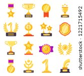 awards icons. trophy medal... | Shutterstock .eps vector #1221715492