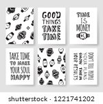set of fashion cards. hand... | Shutterstock .eps vector #1221741202