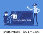 credit card hacking. masked man ... | Shutterstock .eps vector #1221742528