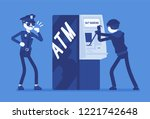 atm hacking crime. automated... | Shutterstock .eps vector #1221742648