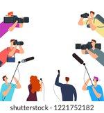 broadcast interview. tv... | Shutterstock .eps vector #1221752182