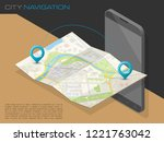 isometric city map smartphone... | Shutterstock .eps vector #1221763042