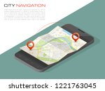 isometric city map smartphone... | Shutterstock .eps vector #1221763045