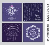 set of hand drawn christmas... | Shutterstock .eps vector #1221764785