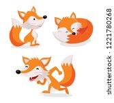 set of foxes vector | Shutterstock .eps vector #1221780268