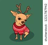 christmas chihuahua dog cartoon ... | Shutterstock .eps vector #1221787942