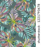 seamless tropical pattern in... | Shutterstock . vector #1221793678
