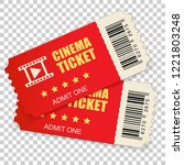 realistic cinema ticket icon in ... | Shutterstock .eps vector #1221803248