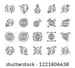 set of world map vector line... | Shutterstock .eps vector #1221806638