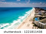 view on beach cancun  | Shutterstock . vector #1221811438
