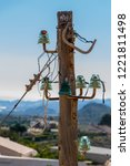 old power lines on a wooden...   Shutterstock . vector #1221811498