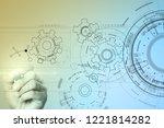 technology interface background ... | Shutterstock . vector #1221814282