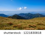 rocky mountain tops with hiking ... | Shutterstock . vector #1221830818