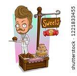 cartoon handsome waiter in... | Shutterstock .eps vector #1221833455