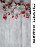 christmas wooden background... | Shutterstock . vector #1221835522