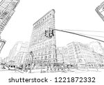 times square. new york. usa.... | Shutterstock .eps vector #1221872332